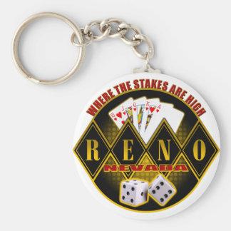 Reno, Nevada - waar de Staken Hoog zijn Basic Ronde Button Sleutelhanger