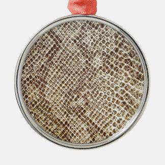 Reptiel huidpatroon zilverkleurig rond ornament