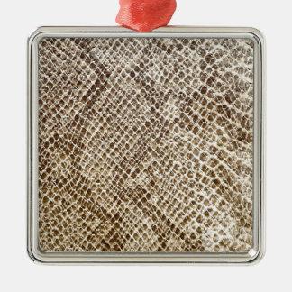 Reptiel huidpatroon zilverkleurig vierkant ornament