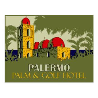 Retro advertentie van de het hotelreis van Palermo Briefkaart