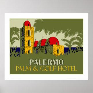 Retro advertentie van de het hotelreis van Palermo Poster