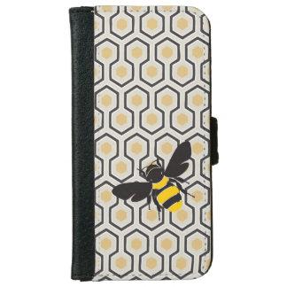 Retro Bijenkorf van het Patroon van de Honingraat iPhone 5 Portefeuille Hoesje