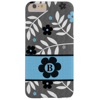 Retro Blauw BloemenThema met monogram Barely There iPhone 6 Plus Hoesje