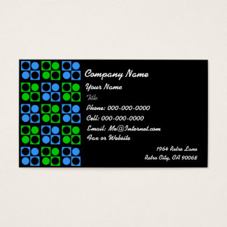 Retro Blauwgroene Vierkante Cirkel op Zwarte Zaken Visitekaartjes