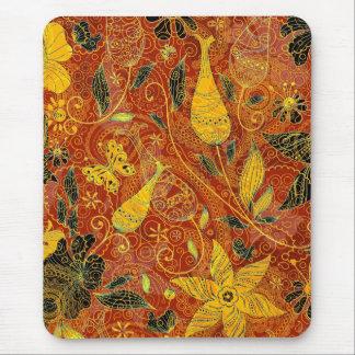 Retro Bloemen collage-Geel & Rood Muismat
