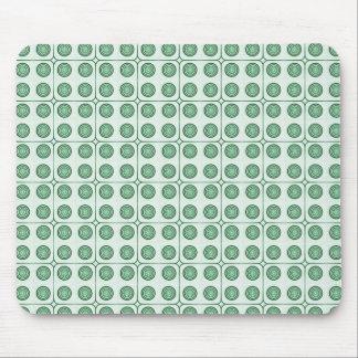 Retro Cirkels Donkergroene Mousepad van de Charme, Muismat