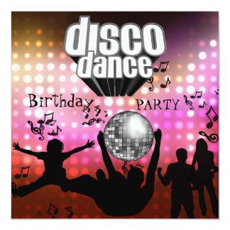 Retro de Partij van de Verjaardag van de Dans van 13,3x13,3 Vierkante Uitnodiging Kaart