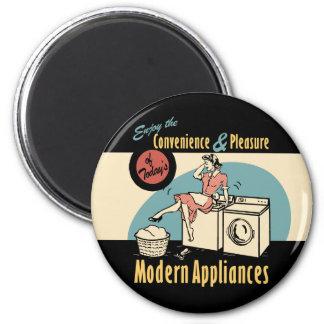 Retro Droger van de Wasmachine van de Huisvrouw Ronde Magneet 5,7 Cm