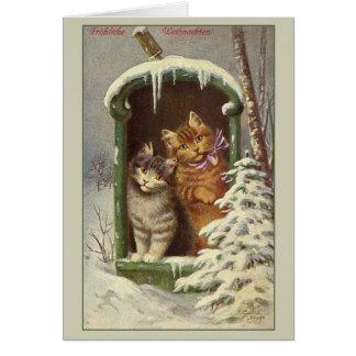 Retro Duitse Kerstkaart van Fröhliche Weihnachten Briefkaarten 0