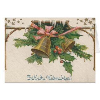 Retro Duitse Kerstkaart van Fröhliche Weihnachten Kaart