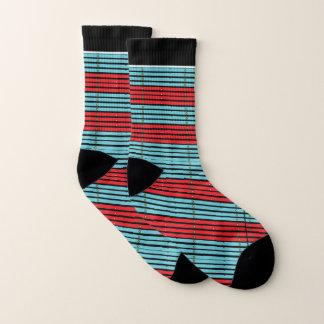 Retro Eigentijds Gestreept ontwerp-Aqua/Rood Sokken