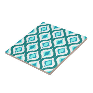 Retro Elegante Patroon van Dalingen Blauwgroen Keramisch Tegeltje