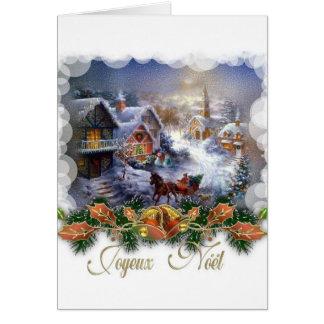 Retro Franse Kerstkaart van Joyeux Noel Wenskaart