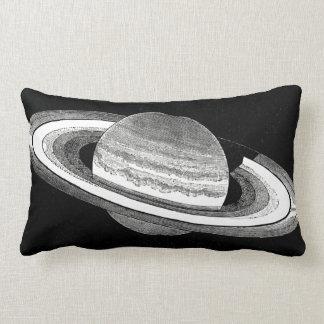 Retro Geïnspireerde Zwart-wit Ruimte van Saturn Lumbar Kussen