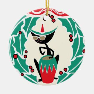 Retro (Gepersonaliseerde) Kerstmis van de Kat van Rond Keramisch Ornament
