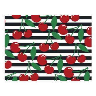 Retro Gestreepte Patroon van de Kers Briefkaart