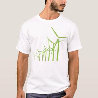 Retro Groene T-shirt van de Turbine van de Wind