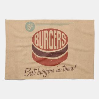 Retro Hamburger Theedoek