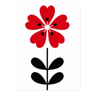 Retro Hart Gevormde Bloem in Rood Briefkaart