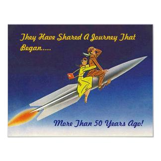 Retro het Berijden van het Schip van de Raket van 10,8x13,9 Uitnodiging Kaart