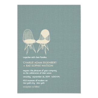 Retro Huwelijk van Eames van het Paar van de Stoel 12,7x17,8 Uitnodiging Kaart