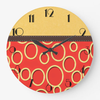 Retro jaren '70 Geïnspireerd Oranje & Geel Art. Grote Klok
