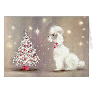 Retro Kaart van de Poedel en van de Kerstboom