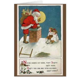 Retro Kerstman en Kinderen op de Kerstkaart van de Briefkaarten 0