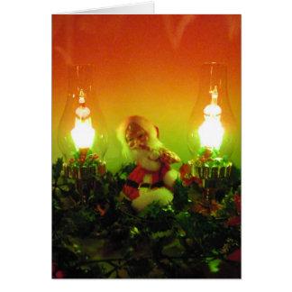 Retro Kerstman en Lichten van de Bel Kaart