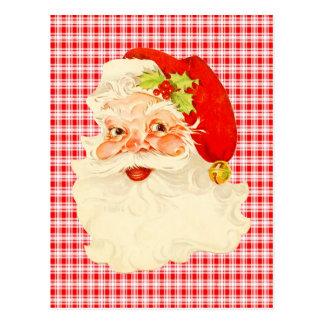 Retro Kerstman op Plaid Briefkaart