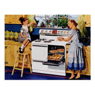 Retro Keuken Postard van de moeder/van de Dochter Briefkaart