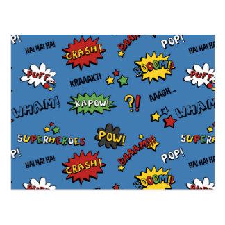 Retro Kinder Patroon Superhero Briefkaart