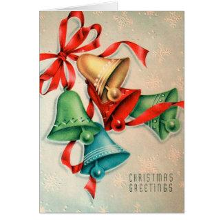 Retro klokken van Kerstmis voegen berichtkaart toe Briefkaarten 0