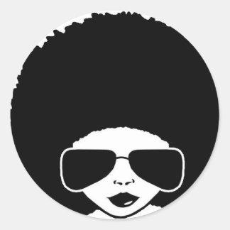 retro meisje Afro Ronde Sticker