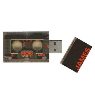 Retro Micro- Cassette Gepersonaliseerde Audiotape Houten USB Stick