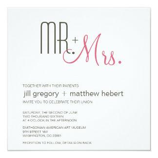 Retro Modern Huwelijk 13,3x13,3 Vierkante Uitnodiging Kaart