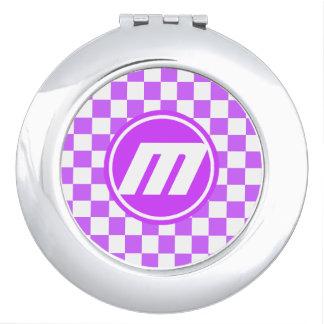 Retro Monogram van paars Sonic Make-up Spiegeltjes