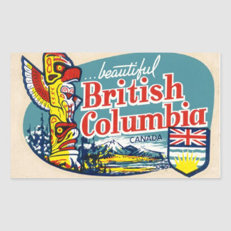 Retro Mooie Britse Sticker van Colombia Canada