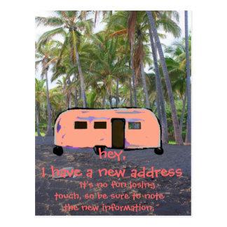 Retro Nieuwe Huis van de Palm van de Aanhangwagen Briefkaart