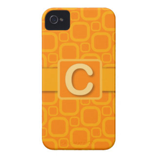 Retro Oranje & Geel Monogram - C iPhone 4 Hoesje