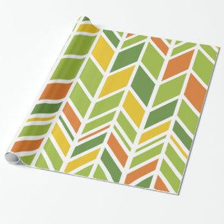 "Retro Oranje Groen Verpakkend Document 30"" x 6 ' Inpakpapier"