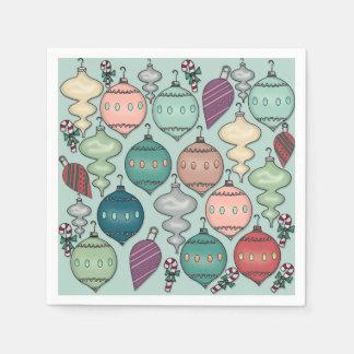 Retro Ornamenten van Kerstmis van de Pastelkleur Wegwerp Servet