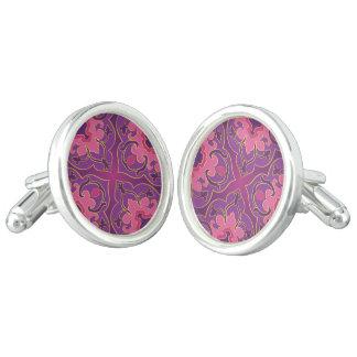 Retro, paars, heet trendy roze, gouden, bloemen, manchetknopen