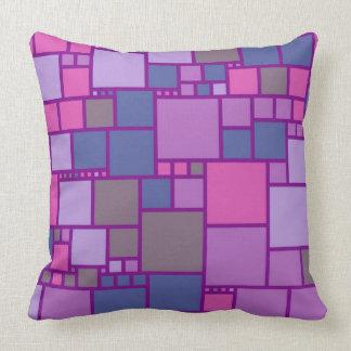 Retro Paarse Roze Patroon van Vierkanten Sierkussen