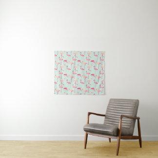 Retro Patroon van de Flamingo Wandkleed