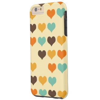 Retro Patroon van de Harten van Kleuren Tough iPhone 6 Plus Hoesje