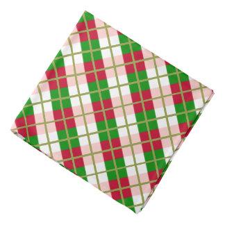 Retro Patroon van de Plaid van Kerstmis Bandana