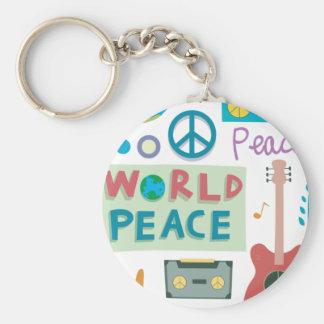 Retro Pictogrammen Keychain van de Vrede van de Sleutelhanger
