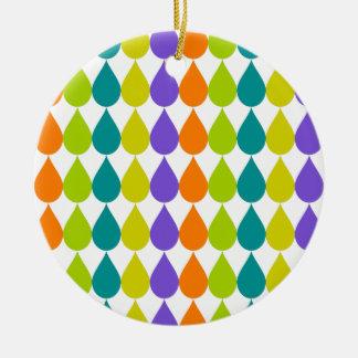 Retro Raindrops3 Rond Keramisch Ornament