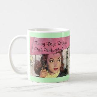 Retro Regenachtige Dagen van de Stijl & de Roze Koffiemok